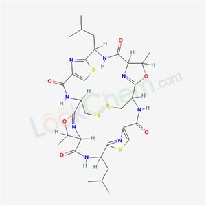 74847-09-9,3,17-Dioxa-10,24,30,31-tetrathia-7,14,21,28,33,34,35,36-octaazahexacyclo[13.13.4.12,5.19,12.116,19.123,26]hexatriaconta-2(36),9(35),11,16(34),23(33),25-hexaene-6,13,20,27-tetrone,4,18-dimethyl-8,22-bis(2-methylpropyl)-, (1R,4R,5S,8R,15R,18R,19S,22R)-,Ulithiacyclamide;3,17-Dioxa-10,24,30,31-tetrathia-7,14,21,28,33,34,35,36-octaazahexacyclo[13.13.4.12,5.19,12.116,19.123,26]hexatriacontane,ulithiacyclamide deriv.;3,17-Dioxa-10,24,30,31-tetrathia-7,14,21,28,33,34,35,36-octaazahexacyclo[13.13.4.12,5.19,12.116,19.123,26]hexatriaconta-2(36),9(35),11,16(34),23(33),25-hexaene-6,13,20,27-tetrone,4,18-dimethyl-8,22-bis(2-methylpropyl)-,[1R-(1R*,4R*,5S*,8R*,15R*,18R*,19S*,22R*)]-; NSC 348113;[1R-(1R*,4R*,5S*,8R*,15R*,18R*,19S*,22R*)]-4,18-Dimethyl-8,22-bis(2-methylpropyl)-3,17-dioxa-10,24,30,31-tetrathia-7,14,21,28,33,34,35,36-octaazahexacyclo[13.13.4.12,5.19,12.116,19.123,26]hexatriaconta-2(36),9(35),11,16(34),23(33),25-hexaene-6,13,20,27-tetrone