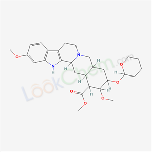 751-73-5,Yohimban-16-carboxylic acid, 11,17-dimethoxy-18-((tetrahydro-2H-pyran-2-yl)oxy)-, methyl ester, (3beta,16beta,17alpha,18beta,20alpha)- (9CI),Su-7064;11,17-dimethoxy-18-tetrahydropyran-2-yloxy-yohimbane-16-carboxylic acid methyl ester;