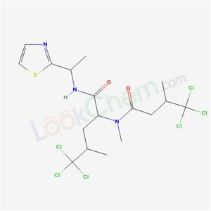 67528-34-1,Pentanamide,5,5,5-trichloro-4-methyl-2- [methyl(4,4,4-trichloro-3-methyl-1-oxobutyl)- amino]-N-[1-(2-thiazolyl)ethyl]-,[2R-[1(S*),- 2R*(S*),4S*]]- ,