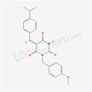 5810-29-7,(5E)-1-[(4-methoxyphenyl)methyl]-5-[(4-propan-2-ylphenyl)methylidene]-1,3-diazinane-2,4,6-trione,
