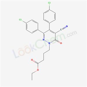 75643-51-5,1(6H)-Pyridazinebutanoic acid, 3,4-bis(4-chlorophenyl)-5-cyano-6-oxo-, ethyl ester,
