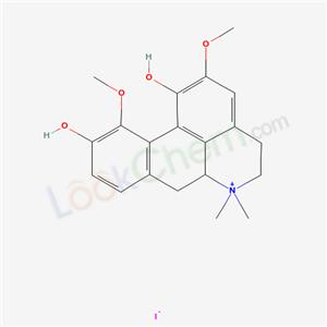 81038-63-3,4H-Dibenzo(de,g)quinolinium, 5,6,6a,7-tetrahydro-1,10-dihydroxy-2,11-dimethoxy-6,6-dimethyl-, iodide,