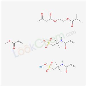 65665-47-6,sodium; methyl prop-2-enoate; 2-methyl-2-(prop-2-enoylamino)propane-1-sulfonate; 2-methyl-2-(prop-2-enoylamino)propane-1-sulfonic acid; 2-(3-oxobutanoyloxy)ethyl 2-methylprop-2-enoate,