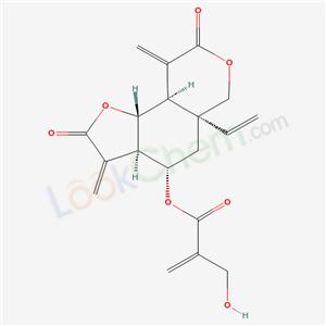 21871-10-3,2-Propenoic acid,2-(hydroxymethyl)-,(3aR,4S,- 5aR,9aR,9bR)-5a-ethenyldecahydro-3,9-bis- (methylene)-2,8-dioxo-2H-furo[2,3-f][2]- benzopyran-4-yl ester,Vernodalin;