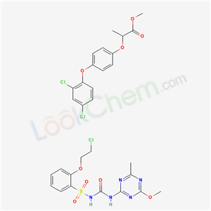 Molecular Structure of 113336-30-4 (1-[2-(2-chloroethoxy)phenyl]sulfonyl-3-(4-methoxy-6-methyl-1,3,5-triazin-2-yl)urea; methyl 2-[4-(2,4-dichlorophenoxy)phenoxy]propanoate)