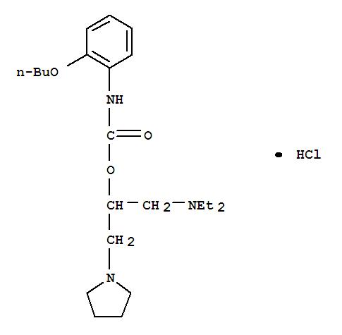 105404-38-4,Carbamic acid,(2-butoxyphenyl)-, 1-[(diethylamino)methyl]-2-(1-pyrrolidinyl)ethyl ester,monohydrochloride (9CI),[2-[(2-butoxyphenyl)carbamoyloxy]-3-(2,3,4,5-tetrahydropyrrol-1-yl)pro pyl]-diethyl-azanium dichloride