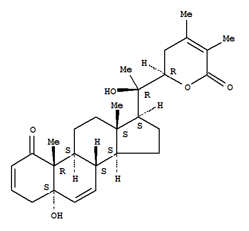 119539-81-0,Ergosta-2,6,24-trien-26-oicacid, 5,20,22-trihydroxy-1-oxo-, d-lactone, (5a,22R)-(9CI),(+)-Withacoagin;Withacoagin