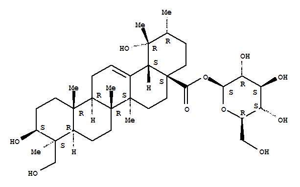 Molecular Structure of 121387-38-0 (Urs-12-en-28-oic acid,3,19,23-trihydroxy-, b-D-glucopyranosyl ester, (3b,4b)- (9CI))