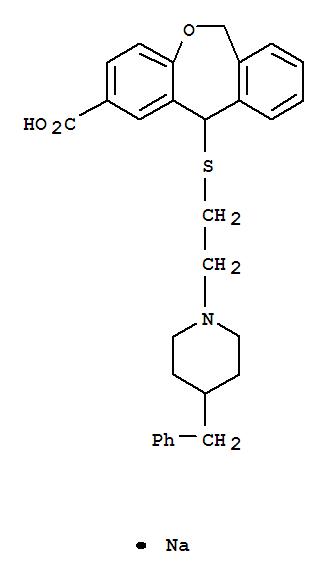 124907-31-9,Dibenz[b,e]oxepin-2-carboxylicacid, 6,11-dihydro-11-[[2-[4-(phenylmethyl)-1-piperidinyl]ethyl]thio]-, sodiumsalt (1:1),Dibenz[b,e]oxepin-2-carboxylicacid, 6,11-dihydro-11-[[2-[4-(phenylmethyl)-1-piperidinyl]ethyl]thio]-, sodiumsalt (9CI); KW 4099