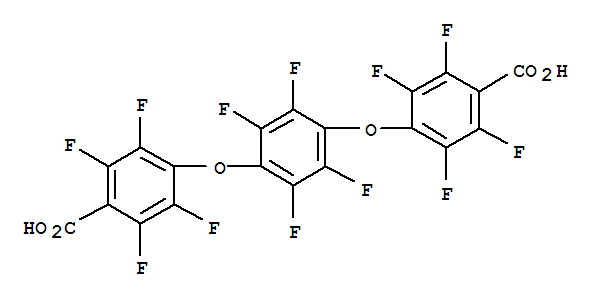 14796-03-3,Benzoic acid,4,4'-[(2,3,5,6-tetrafluoro-1,2-phenylene)bis(oxy)]bis[2,3,5,6-tetrafluoro-(9CI),Benzoicacid, 4,4'-[(2,3,5,6-tetrafluoro-p-phenylene)dioxy]bis[2,3,5,6-tetrafluoro-(8CI); Benzoic acid, 4,4'-[(tetrafluoro-p-phenylene)dioxy]bis[tetrafluoro-; NSC168749