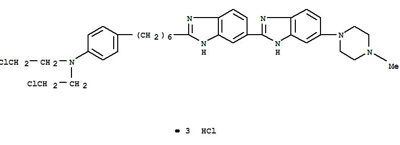 159277-20-0,Benzenamine,N,N-bis(2-chloroethyl)-4-[6-[5-(4-methyl-1-piperazinyl)[2,5'-bi-1H-benzimidazol]-2'-yl]hexyl]-,trihydrochloride (9CI),