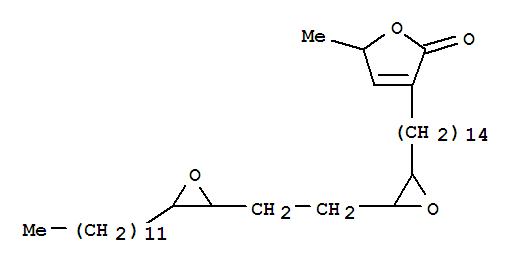 160525-55-3,2(5H)-Furanone,3-[14-[(2R,3S)-3-[2-[(2S,3R)-3-dodecyl-2-oxiranyl]ethyl]-2-oxiranyl]tetradecyl]-5-methyl-,rel-,2(5H)-Furanone,3-[14-[(2R,3S)-3-[2-[(2S,3R)-3-dodecyloxiranyl]ethyl]oxiranyl]tetradecyl]-5-methyl-,rel- (9CI); Dieporeticanin 1; Epoxyrollin A