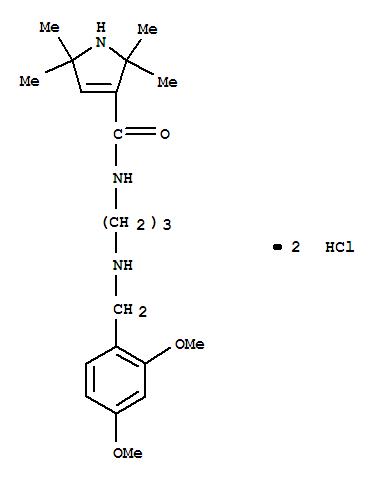 102132-02-5,1H-Pyrrole-3-carboxamide,N-[3-[[(2,4-dimethoxyphenyl)methyl]amino]propyl]-2,5-dihydro-2,2,5,5-tetramethyl-,hydrochloride (1:2),1H-Pyrrole-3-carboxamide,N-[3-[[(2,4-dimethoxyphenyl)methyl]amino]propyl]-2,5-dihydro-2,2,5,5-tetramethyl-,dihydrochloride (9CI)