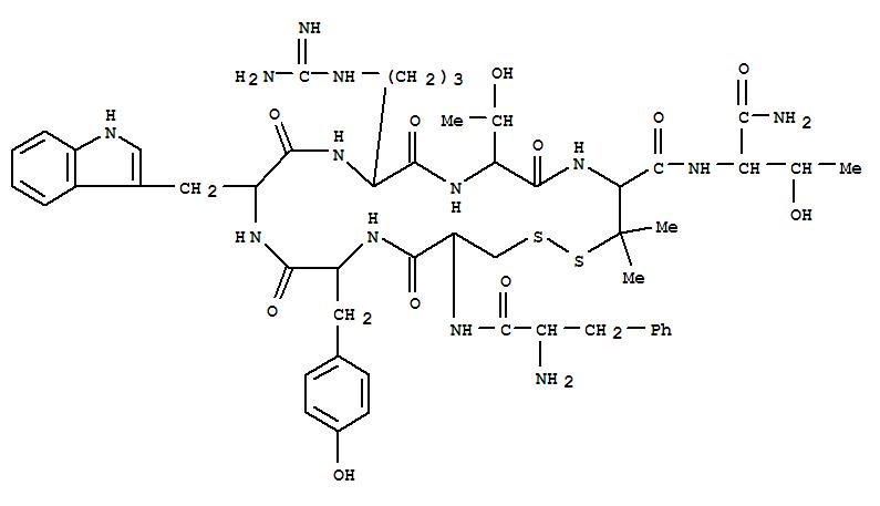 Molecular Structure of 103429-32-9 (L-Threoninamide,D-phenylalanyl-L-cysteinyl-L-tyrosyl-D-tryptophyl-L-arginyl-L-threonyl-3-mercapto-L-valyl-,cyclic (2®7)-disulfide)