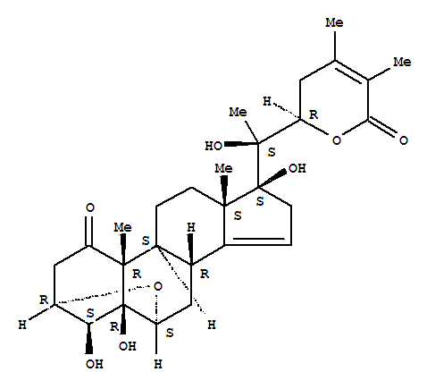 Molecular Structure of 106894-31-9 (Ergosta-14,24-dien-26-oicacid, 3,6-epoxy-4,5,17,20,22-pentahydroxy-1-oxo-, d-lactone, (3a,4b,5b,6a,17a,22R)- (9CI))