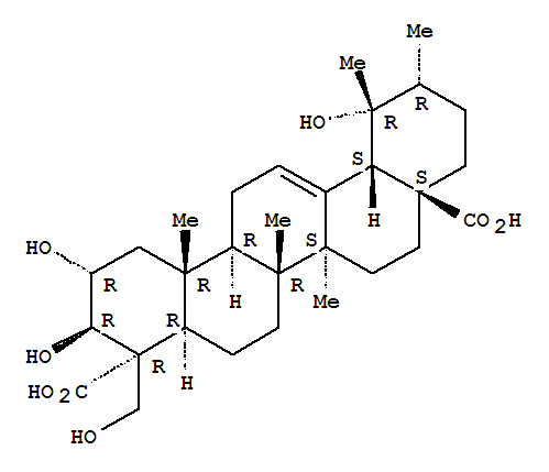 Molecular Structure of 109750-35-8 (Urs-12-ene-23,28-dioicacid, 2,3,19,24-tetrahydroxy-, (2a,3b,4a)- (9CI))