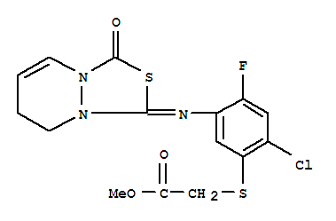 121027-37-0,Acetic acid,2-[[2-chloro-5-[(7,8-dihydro-3-oxo-1H,3H-[1,3,4]thiadiazolo[3,4-a]pyridazin-1-ylidene)amino]-4-fluorophenyl]thio]-,methyl ester,Acetic acid,[[2-chloro-5-[(7,8-dihydro-3-oxo-1H,3H-[1,3,4]thiadiazolo[3,4-a]pyridazin-1-ylidene)amino]-4-fluorophenyl]thio]-,methyl ester (9CI); 1H,3H-[1,3,4]Thiadiazolo[3,4-a]pyridazine, acetic acidderiv.; NCI 876648