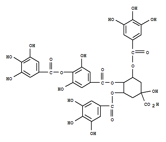 Molecular Structure of 123134-19-0 (Benzoic acid,3,5-dihydroxy-4-[(3,4,5-trihydroxybenzoyl)oxy]-,4-carboxy-4-hydroxy-2,6-bis[(3,4,5-trihydroxybenzoyl)oxy]cyclohexyl ester,stereoisomer)