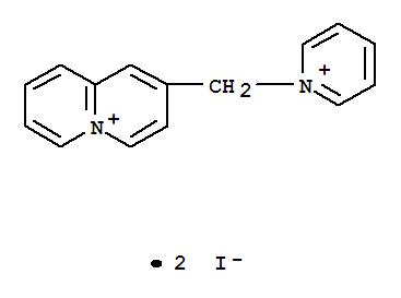 1586-41-0,Quinolizinium,2-(pyridiniomethyl)-, iodide (1:2),Quinolizinium,2-(pyridiniomethyl)-, diiodide (8CI,9CI); Pyridine, compd. with2-(iodomethyl)quinolizinium iodide (1:1); Pyridine, compd. with2-(iodomethyl)quinolizinium iodide (1:1); Quinolizinium, 2-(iodomethyl)-,compd. with pyridine (1:1)