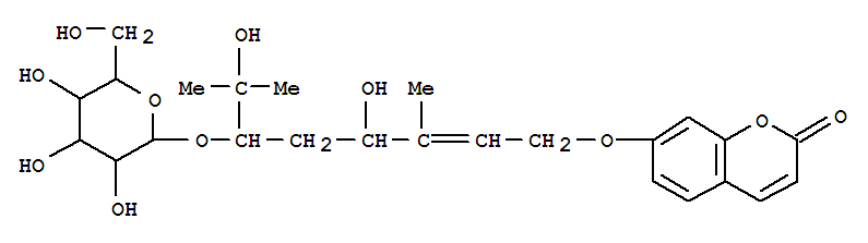 Molecular Structure of 169626-23-7 (2H-1-Benzopyran-2-one,7-[[(2E,4R,6R)-6-(b-D-glucopyranosyloxy)-4,7-dihydroxy-3,7-dimethyl-2-octenyl]oxy]- (9CI))