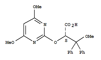 Molecular Structure of 171714-84-4 (Benzenepropanoic acid, a-[(4,6-dimethoxy-2-pyrimidinyl)oxy]-b-methoxy-b-phenyl-, (aS)-)