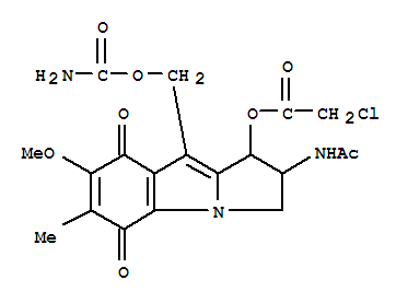 Molecular Structure of 25998-08-7 (Acetic acid, 2-chloro-,2-(acetylamino)-9-[[(aminocarbonyl)oxy]methyl]-2,3,5,8-tetrahydro-7-methoxy-6-methyl-5,8-dioxo-1H-pyrrolo[1,2-a]indol-1-ylester)