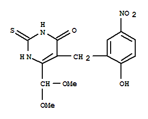 31349-18-5,4(1H)-Pyrimidinone,6-(dimethoxymethyl)-2,3-dihydro-5-[(2-hydroxy-5-nitrophenyl)methyl]-2-thioxo-,Orotaldehyde,5-(5-nitrosalicyl)-2-thio-, 4-dimethyl acetal (8CI); NSC 153774