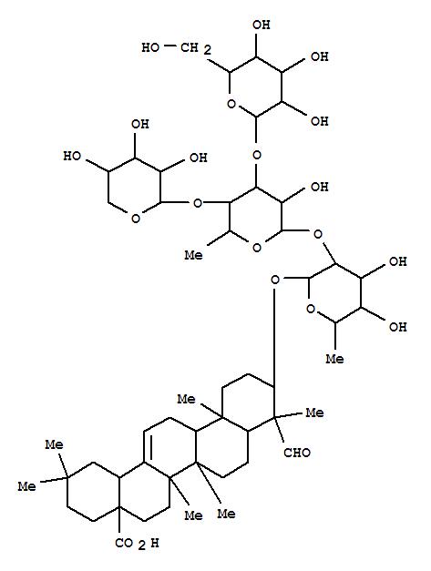 53846-56-3,Olean-12-en-28-oicacid, 3-[(O-b-D-glucopyranosyl-(1®3)-O-[b-D-xylopyranosyl-(1®4)]-O-6-deoxy-a-L-mannopyranosyl-(1®2)-6-deoxy-b-D-galactopyranosyl)oxy]-23-oxo-, (3b,4a)- (9CI),Githagoside