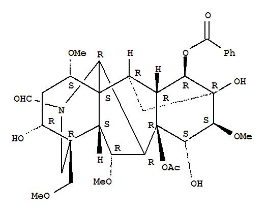 545-57-3,Aconitane-20-carboxaldehyde,8-(acetyloxy)-14-(benzoyloxy)-3,13,15-trihydroxy-1,6,16-trimethoxy-4-(methoxymethyl)-,(1a,3a,6a,14a,15a,16b)- (9CI),Oxonitine(6CI); 2H-12,3,6a-Ethanylylidene-7,9-methanonaphth[2,3-b]azocine,aconitane-20-carboxaldehyde deriv.; Oxomesaconitine