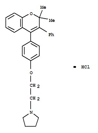 57897-51-5,Pyrrolidine,1-[2-[4-(2,2-dimethyl-3-phenyl-2H-1-benzopyran-4-yl)phenoxy]ethyl]-,hydrochloride (1:1),Pyrrolidine,1-[2-[4-(2,2-dimethyl-3-phenyl-2H-1-benzopyran-4-yl)phenoxy]ethyl]-,hydrochloride (9CI)