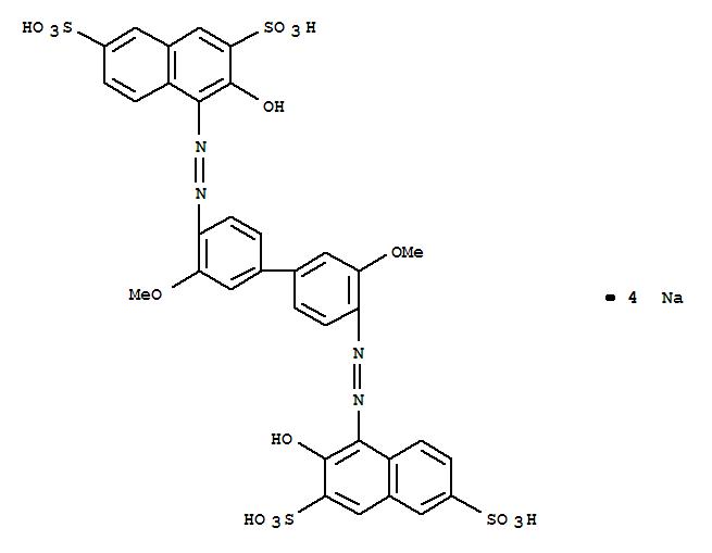65151-33-9,2,7-Naphthalenedisulfonicacid,4,4'-[(3,3'-dimethoxy[1,1'-biphenyl]-4,4'-diyl)bis(2,1-diazenediyl)]bis[3-hydroxy-,sodium salt (1:4),2,7-Naphthalenedisulfonicacid, 4,4'-[(3,3'-dimethoxy[1,1'-biphenyl]-4,4'-diyl)bis(azo)]bis[3-hydroxy-,tetrasodium salt (9CI)