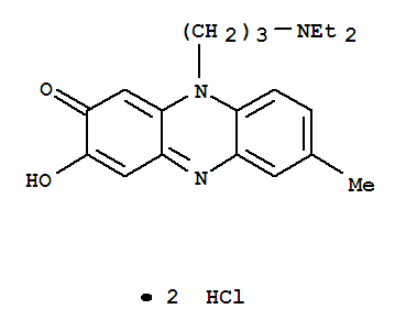 Molecular Structure of 7498-95-5 (2(10H)-Phenazinone,10-[3-(diethylamino)propyl]-3-hydroxy-7-methyl-, hydrochloride (1:2))