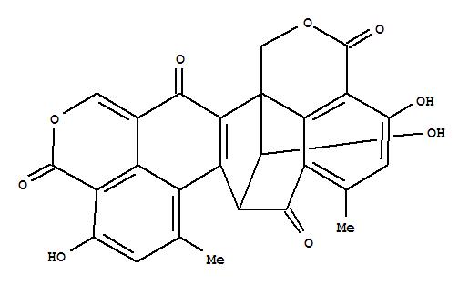 7545-84-8,7H-8,15b-Methano-1H,3H,12H-benzo[de]cyclohepta[1,2-g:3,4,5-d'e']bis[2]benzopyran-3,7,12,15(8H)-tetrone,4,11,16-trihydroxy-6,9-dimethyl-, (8R,15bS,16S)- (9CI),7H-8,15b-Methano-1H,3H,12H-benzo[de]cyclohepta[1,2-g:3,4,5-d'e']bis[2]benzopyran-3,7,12,15(8H)-tetrone,4,11,16-trihydroxy-6,9-dimethyl-, [8R-(8a,15ba,16S*)]- (8CI); Neoclauxin (7CI);7,13-Methano-5H-benzo[4,5]cyclohepta[1,2-a]naphthalene-4,8-dicarboxylic acid,6,7,12,13-tetrahydro-3,9,14-trihydroxy-7-(hydroxymethyl)-5-(hydroxymethylene)-1,11-dimethyl-,di-d-lactone