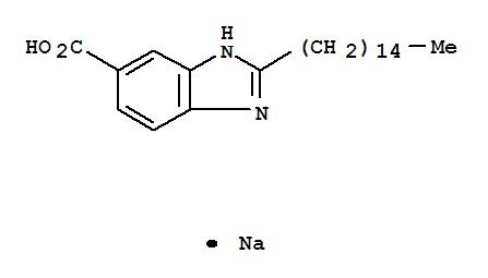 Molecular Structure of 77582-39-9 (1H-Benzimidazole-6-carboxylicacid, 2-pentadecyl-, sodium salt (1:1))
