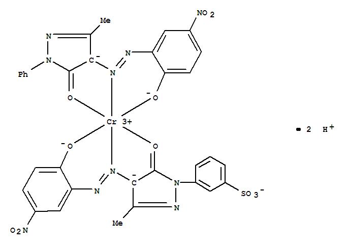 Molecular Structure of 93940-27-3 (Chromate(2-),[3-[4,5-dihydro-4-[(2-hydroxy-5-nitrophenyl)azo]-3-methyl-5-oxo-1H-pyrazol-1-yl]benzenesulfonato(3-)][2,4-dihydro-4-[(2-hydroxy-5-nitrophenyl)azo]-5-methyl-2-phenyl-3H-pyrazol-3-onato(2-)]-,dihydrogen (9CI))