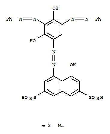 97404-05-2,2,7-Naphthalenedisulfonicacid, 4-[2-[2,4-dihydroxy-3,5-bis(2-phenyldiazenyl)phenyl]diazenyl]-5-hydroxy-,sodium salt (1:2),2,7-Naphthalenedisulfonicacid, 4-[[2,4-dihydroxy-3,5-bis(phenylazo)phenyl]azo]-5-hydroxy-, disodium salt(9CI)