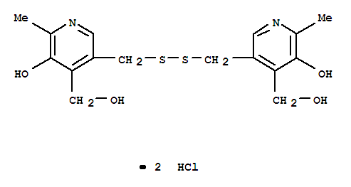 Molecular Structure of 10049-83-9 (4-Pyridinemethanol,3,3'-[dithiobis(methylene)]bis[5-hydroxy-6-methyl-, hydrochloride (1:2))