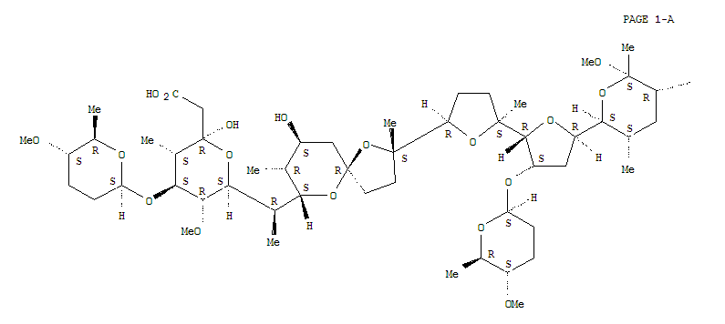 101621-31-2,2H-Pyran-2-acetic acid,tetrahydro-2-hydroxy-6-[(1R)-1-[(2S,5R,7S,8R,9S)-9-hydroxy-2,8-dimethyl-2-[(2S,2'R,3'S,5R,5'R)-octahydro-2-methyl-3'-[[(2S,5S,6R)-tetrahydro-5-methoxy-6-methyl-2H-pyran-2-yl]oxy]-5'-[(2S,3S,5R,6S)-tetrahydro-6-methoxy-3,5,6-trimethyl-2H-pyran-2-yl][2,2'-bifuran]-5-yl]-1,6-dioxaspiro[4.5]dec-7-yl]ethyl]-5-methoxy-3-methyl-4-[[(2S,5S,6R)-tetrahydro-5-methoxy-6-methyl-2H-pyran-2-yl]oxy]-,(2R,3S,4S,5R,6S)- (9CI),Semduramicin,29-O-methyl-5-O-(tetrahydro-5-methoxy-6-methyl-2H-pyran-2-yl)-, [5(2S,5S,6R)]-;1,6-Dioxaspiro[4.5]decane, semduramicin deriv.; 2H-Pyran-2-acetic acid,tetrahydro-2-hydroxy-6-[1-[9-hydroxy-2,8-dimethyl-2-[octahydro-2-methyl-3'-[(tetrahydro-5-methoxy-6-methyl-2H-pyran-2-yl)oxy]-5'-(tetrahydro-6-methoxy-3,5,6-trimethyl-2H-pyran-2-yl)[2,2'-bifuran]-5-yl]-1,6-dioxaspiro[4.5]dec-7-yl]ethyl]-5-methoxy-3-methyl-4-[(tetrahydro-5-methoxy-6-methyl-2H-pyran-2-yl)oxy]-,[2R-[2a,3a,4b(2S*,5S*,6R*),5a,6b[R*[2S*[2S*,2'R*,3'S*(2S*,5S*,6R*),5R*,5'R*(2S*,3S*,5R*,6S*)],5R*,7S*,8R*,9S*]]]]-;CP 70228