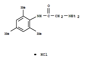 Molecular Structure of 1027-14-1 (Acetamide,2-(diethylamino)-N-(2,4,6-trimethylphenyl)-, hydrochloride (1:1))