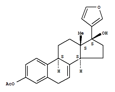 Molecular Structure of 10322-73-3 (19,24-Dinorchola-1,3,5(10),7,20,22-hexaene-3,17-diol,21,23-epoxy-, 3-acetate, (17a)-)