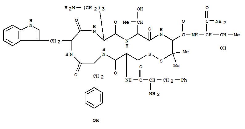 Molecular Structure of 103429-31-8 (L-Threoninamide,D-phenylalanyl-L-cysteinyl-L-tyrosyl-D-tryptophyl-L-ornithyl-L-threonyl-3-mercapto-L-valyl-,cyclic (2®7)-disulfide)