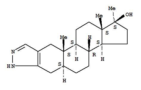 Molecular Structure of 10418-03-8 (2'H-Androst-2-eno[3,2-c]pyrazol-17-ol,17-methyl-, (5a,17b)-)