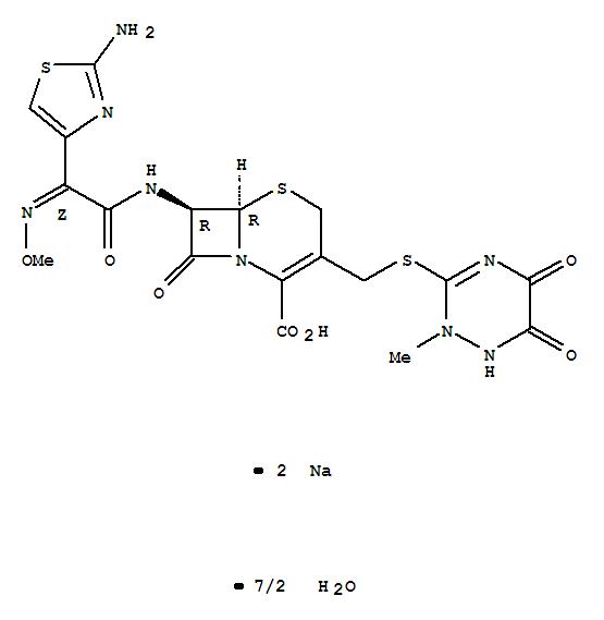 CAS NO:104376-79-6 Ceftriaxone disodium salt hemiheptahydrate Molecular Structure