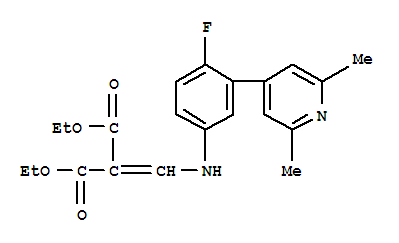 Molecular Structure of 104431-74-5 (Propanedioic acid,2-[[[3-(2,6-dimethyl-4-pyridinyl)-4-fluorophenyl]amino]methylene]-, 1,3-diethylester)