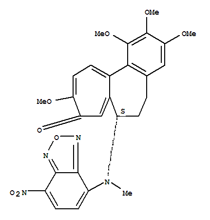Molecular Structure of 108964-31-4 (Benzo[a]heptalen-9(5H)-one,6,7-dihydro-1,2,3,10-tetramethoxy-7-[methyl(7-nitro-2,1,3-benzoxadiazol-4-yl)amino]-,(7S)-)