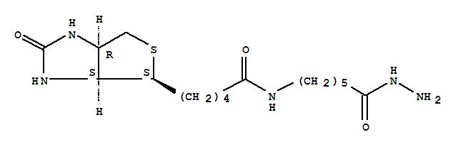 109276-34-8,Hexanoic acid,6-[[5-[(3aS,4S,6aR)-hexahydro-2-oxo-1H-thieno[3,4-d]imidazol-4-yl]-1-oxopentyl]amino]-,hydrazide,Hexanoicacid, 6-[[5-(hexahydro-2-oxo-1H-thieno[3,4-d]imidazol-4-yl)-1-oxopentyl]amino]-,hydrazide, [3aS-(3aa,4b,6aa)]-; BACH; Biotinamidocaproyl hydrazide; EZ-LinkBiotin-LC-hydrazide