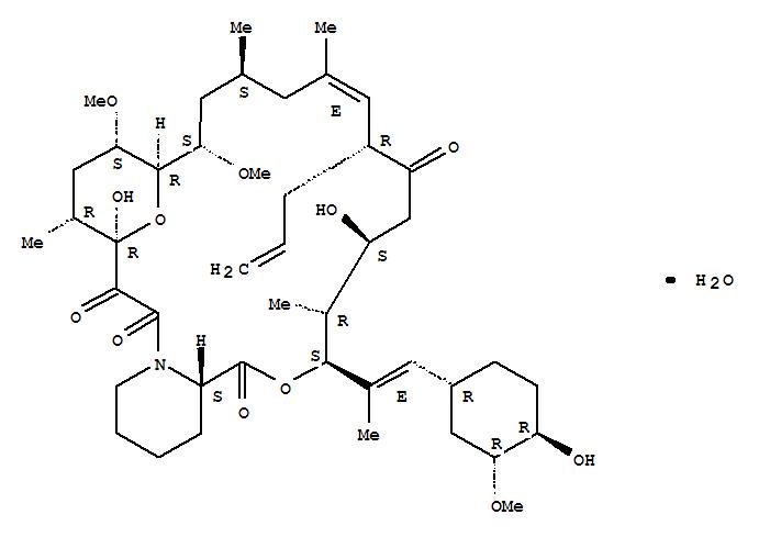 109581-93-3,Tacrolimus monohydrate,15,19-Epoxy-3H-pyrido[2,1-c][1,4]oxaazacyclotricosine-1,7,20,21(4H,23H)-tetrone,5,6,8,11,12,13,14,15,16,17,18,19,24,25,26,26a-hexadecahydro-5,19-dihydroxy-3-[(1E)-2-[(1R,3R,4R)-4-hydroxy-3-methoxycyclohexyl]-1-methylethenyl]-14,16-dimethoxy-4,10,12,18-tetramethyl-8-(2-propenyl)-,monohydrate, (3S,4R,5S,8R,9E,12S,14S,15R,16S,18R,19R,26aS)- (9CI);15,19-Epoxy-3H-pyrido[2,1-c][1,4]oxaazacyclotricosine-1,7,20,21(4H,23H)-tetrone,5,6,8,11,12,13,14,15,16,17,18,19,24,25,26,26a-hexadecahydro-5,19-dihydroxy-3-[2-(4-hydroxy-3-methoxycyclohexyl)-1-methylethenyl]-14,16-dimethoxy-4,10,12,18-tetramethyl-8-(2-propenyl)-,monohydrate,[3S-[3R*[E(1S*,3S*,4S*)],4S*,5R*,8S*,9E,12R*,14R*,15S*,16R*,18S*,19S*,26aR*]]-;Tsukubaenolide hydrate;
