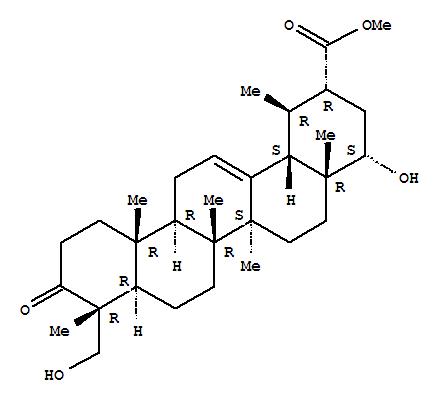 Molecular Structure of 109974-22-3 (Urs-12-en-30-oic acid,22,23-dihydroxy-3-oxo-, methyl ester, (4a,22a)-)