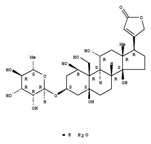 Molecular Structure of 11018-89-6 (Card-20(22)-enolide,3-[(6-deoxy-a-L-mannopyranosyl)oxy]-1,5,11,14,19-pentahydroxy-,hydrate (1:8), (1b,3b,5b,11a)-)