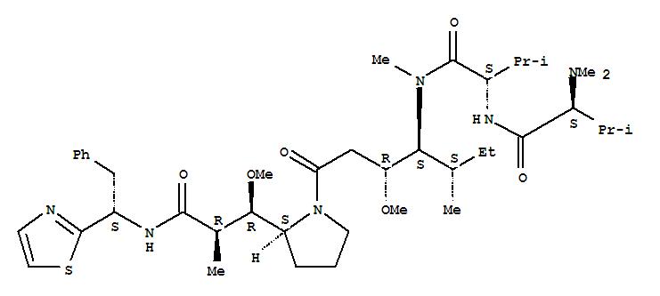 110417-88-4,L-Valinamide,N,N-dimethyl-L-valyl-N-[(1S,2R)-2-methoxy-4-[(2S)-2-[(1R,2R)-1-methoxy-2-methyl-3-oxo-3-[[(1S)-2-phenyl-1-(2-thiazolyl)ethyl]amino]propyl]-1-pyrrolidinyl]-1-[(1S)-1-methylpropyl]-4-oxobutyl]-N-methyl-,L-Valinamide,N,N-dimethyl-L-valyl-N-[2-methoxy-4-[2-[1-methoxy-2-methyl-3-oxo-3-[[2-phenyl-1-(2-thiazolyl)ethyl]amino]propyl]-1-pyrrolidinyl]-1-(1-methylpropyl)-4-oxobutyl]-N-methyl-,[2S-[1[1R*(R*),2S*],2R*[1S*,2S*,3(R*)]]]-; DLS 10; Dolastatin 10; NSC 376128